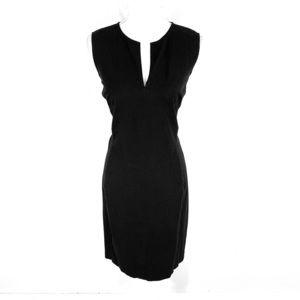 Ralph Lauren black stretch canvas notch neck dress